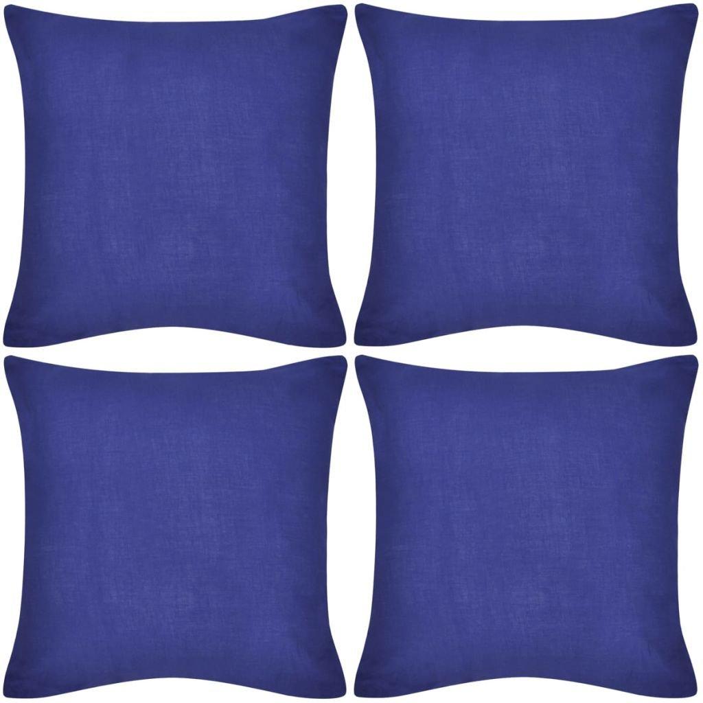 4 modré povlaky na polštářky - bavlna | 50x50 cm