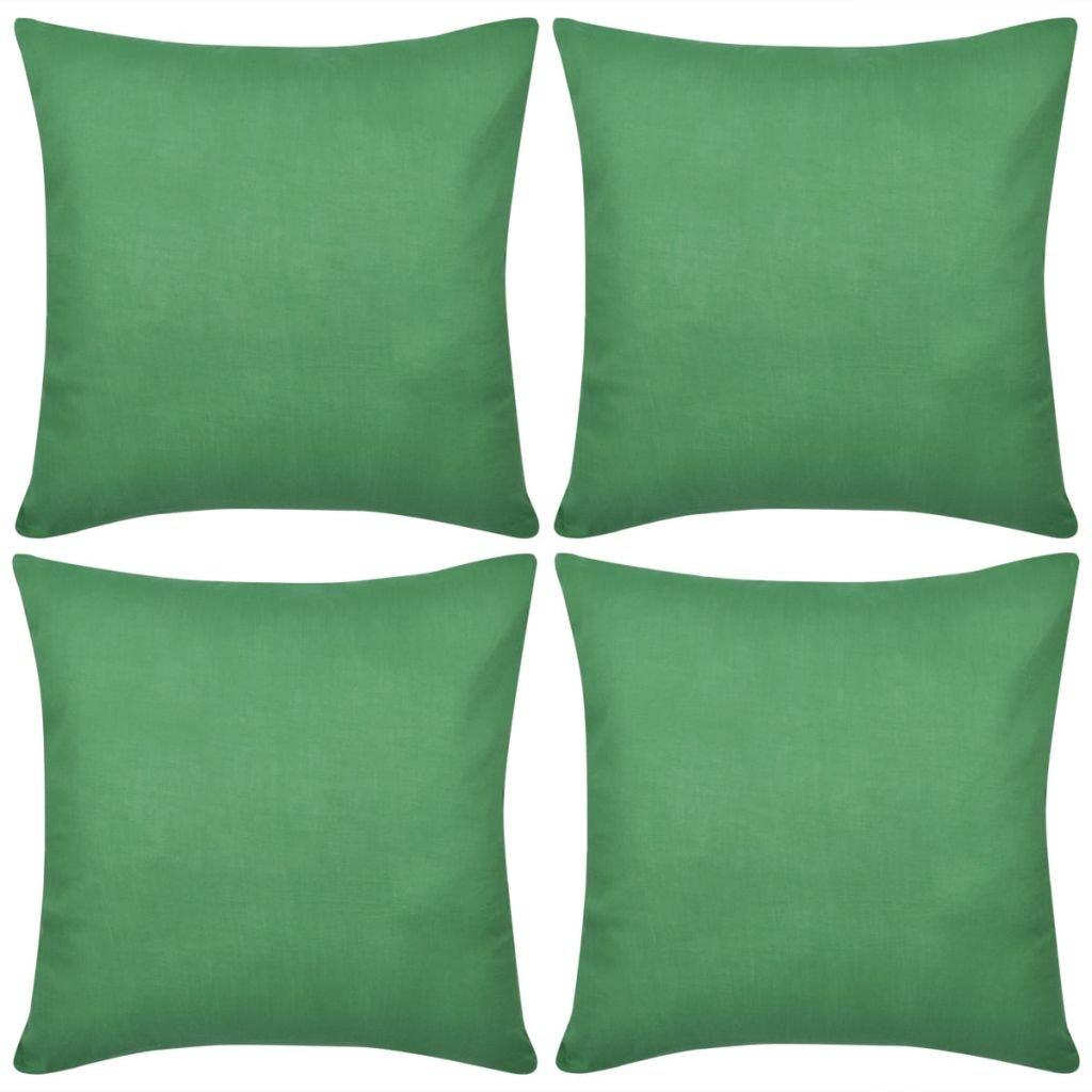 4 zelené povlaky na polštářky - bavlna | 80x80 cm