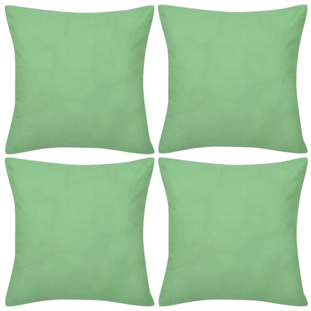 4 jablkově zelené povlaky na polštářky - bavlna | 40x40 cm