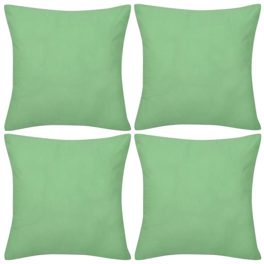 4 jablkově zelené povlaky na polštářky - bavlna | 50x50 cm