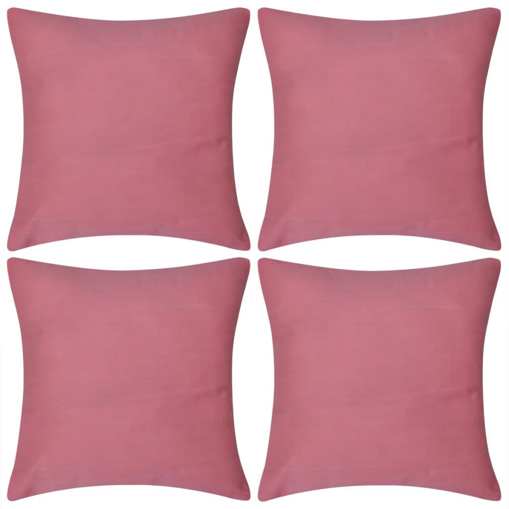 4 růžové povlaky na polštářky - bavlna | 40x40 cm