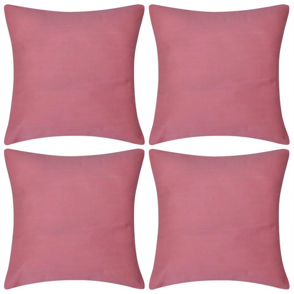 4 růžové povlaky na polštářky - bavlna   40x40 cm