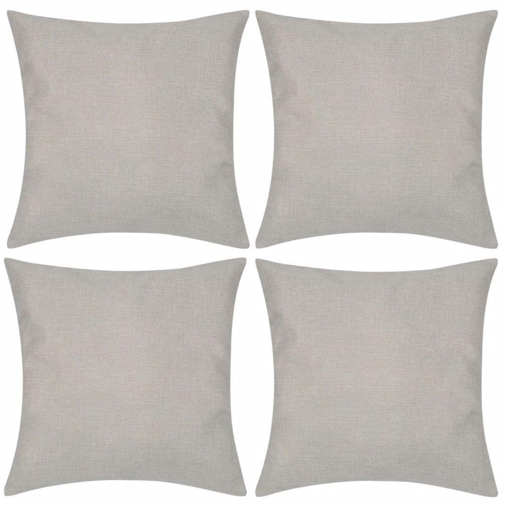 4 béžové povlaky na polštářky se vzhledem lnu | 40x40 cm