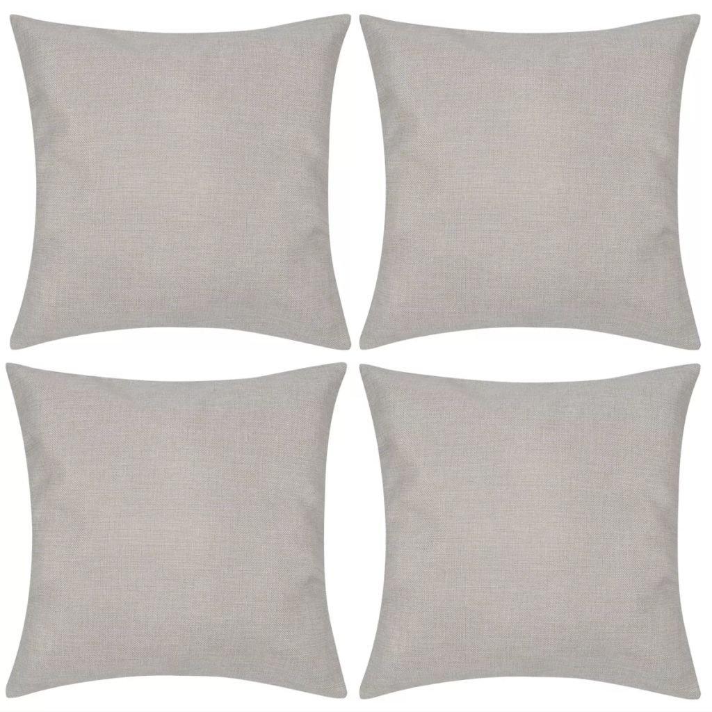 4 béžové povlaky na polštářky se vzhledem lnu   50x50 cm