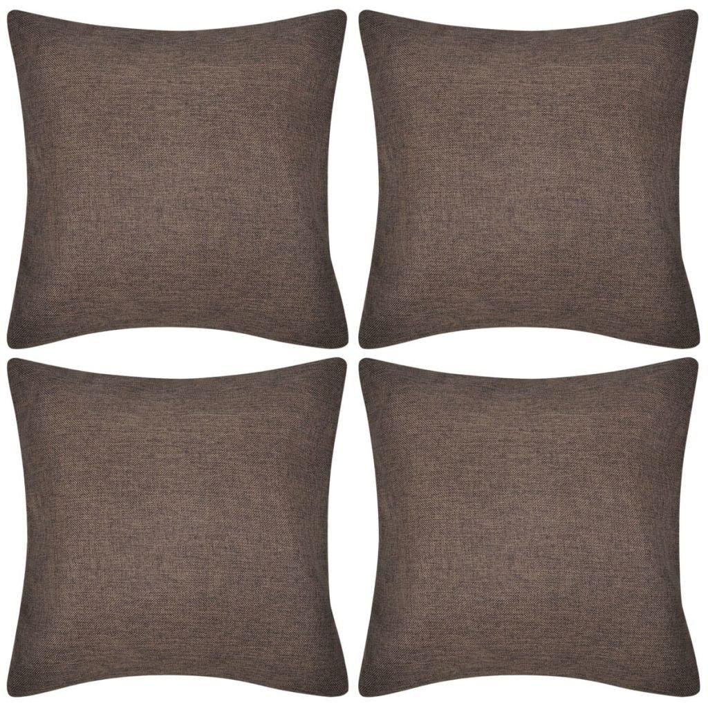 4 hnědé povlaky na polštářky se vzhledem lnu | 40x40 cm