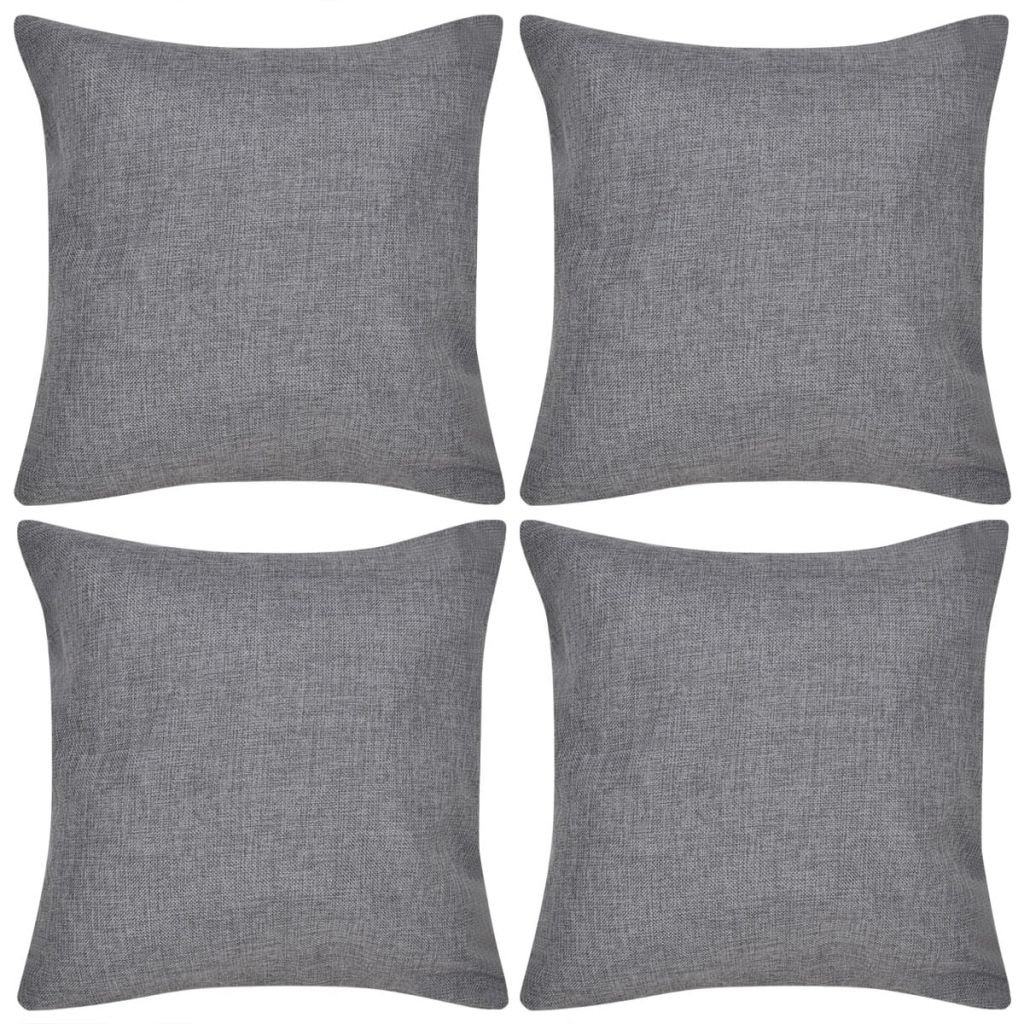 4 antracitové povlaky na polštářky se vzhledem lnu   50x50 cm