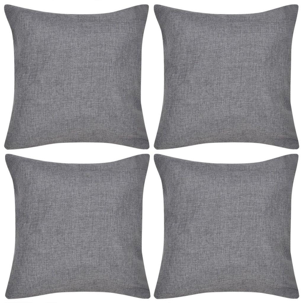 4 antracitové povlaky na polštářky se vzhledem lnu   80x80 cm