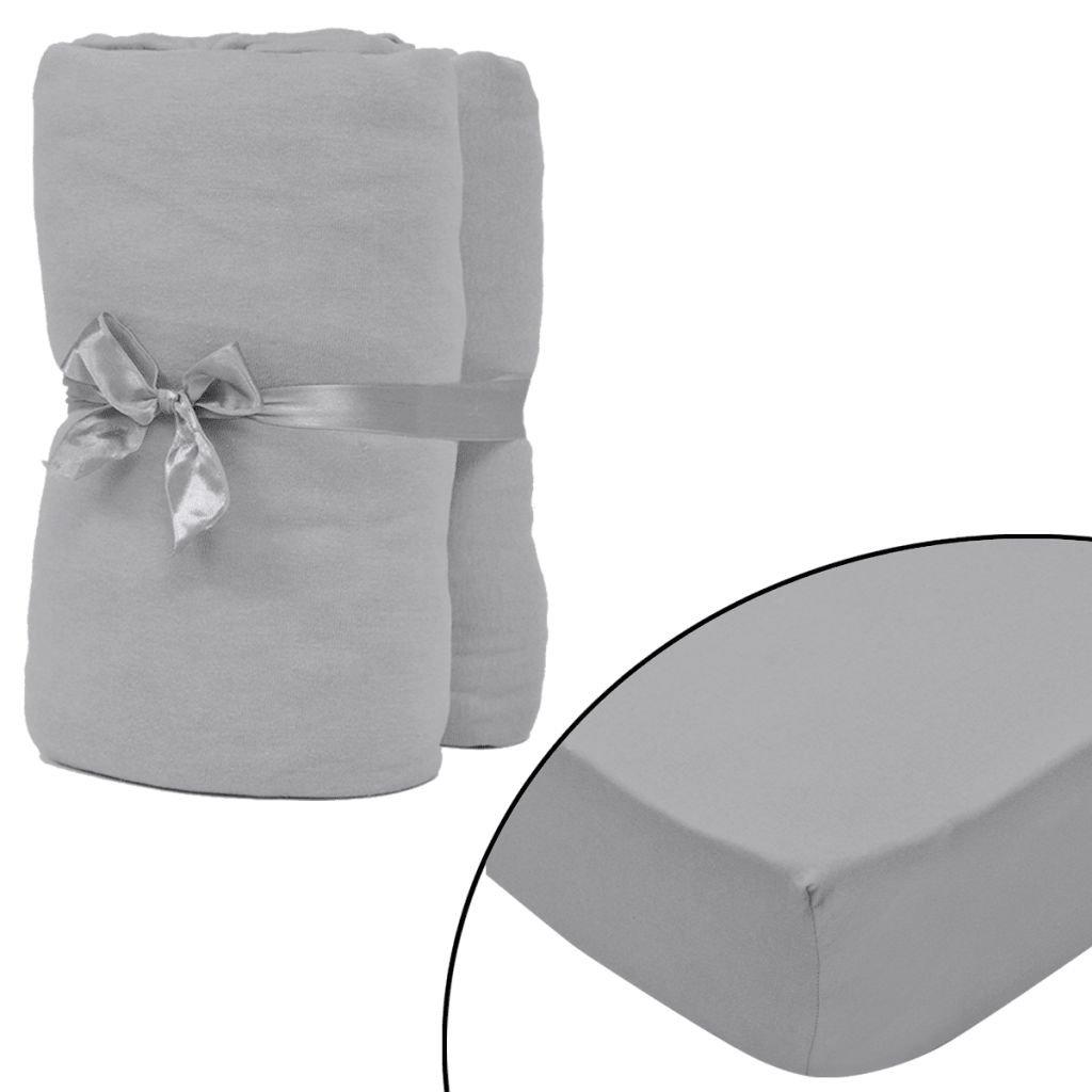 Napínací prostěradlo - 2 ks - šedé | 90x190–100x200cm