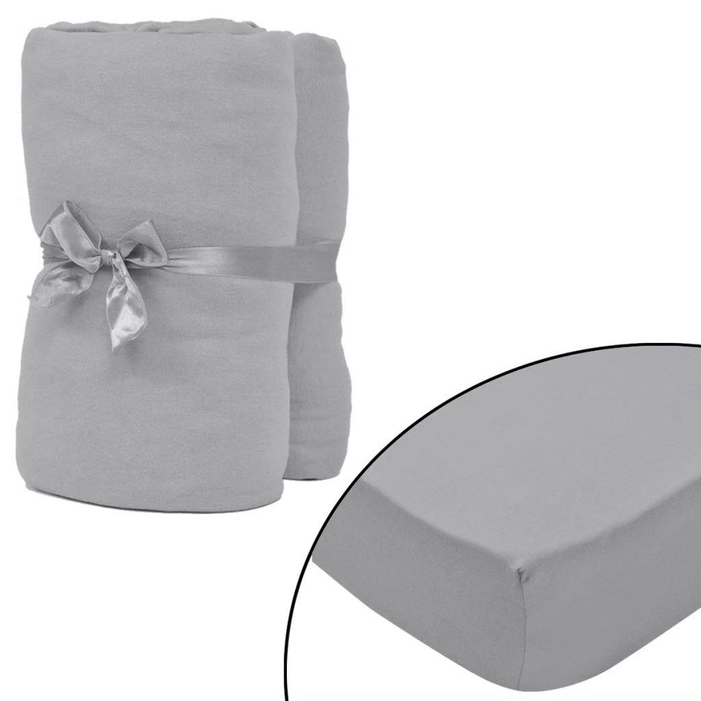 Napínací prostěradlo - 2 ks - šedý   120x200–130x200 cm