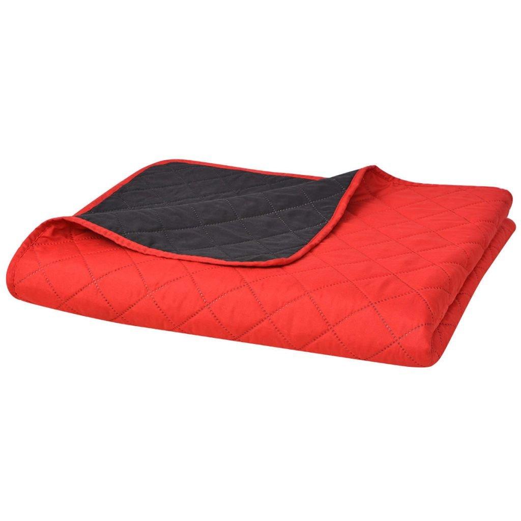 Oboustranný prošívaný přehoz na postel - červeno-černý   230x260 cm