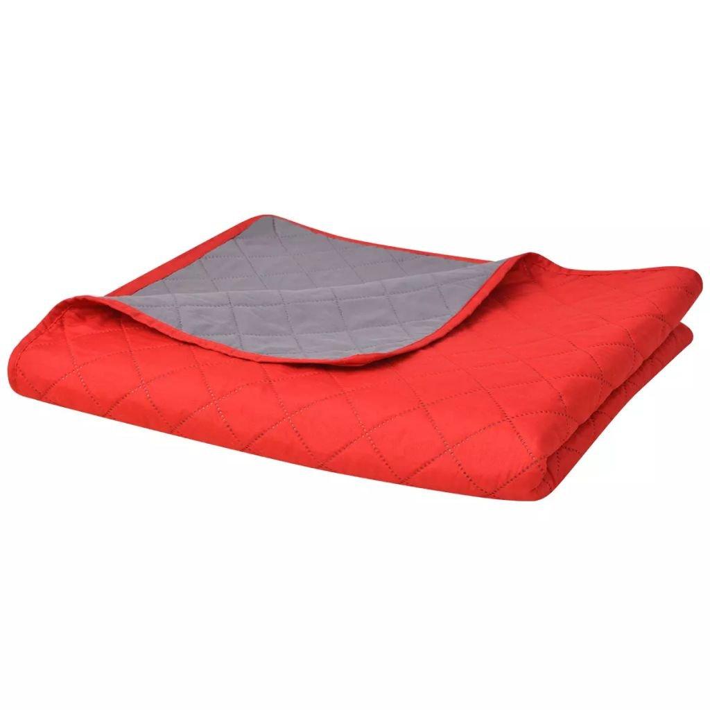 Oboustranný prošívaný přehoz na postel - červeno-šedý | 230x260 cm
