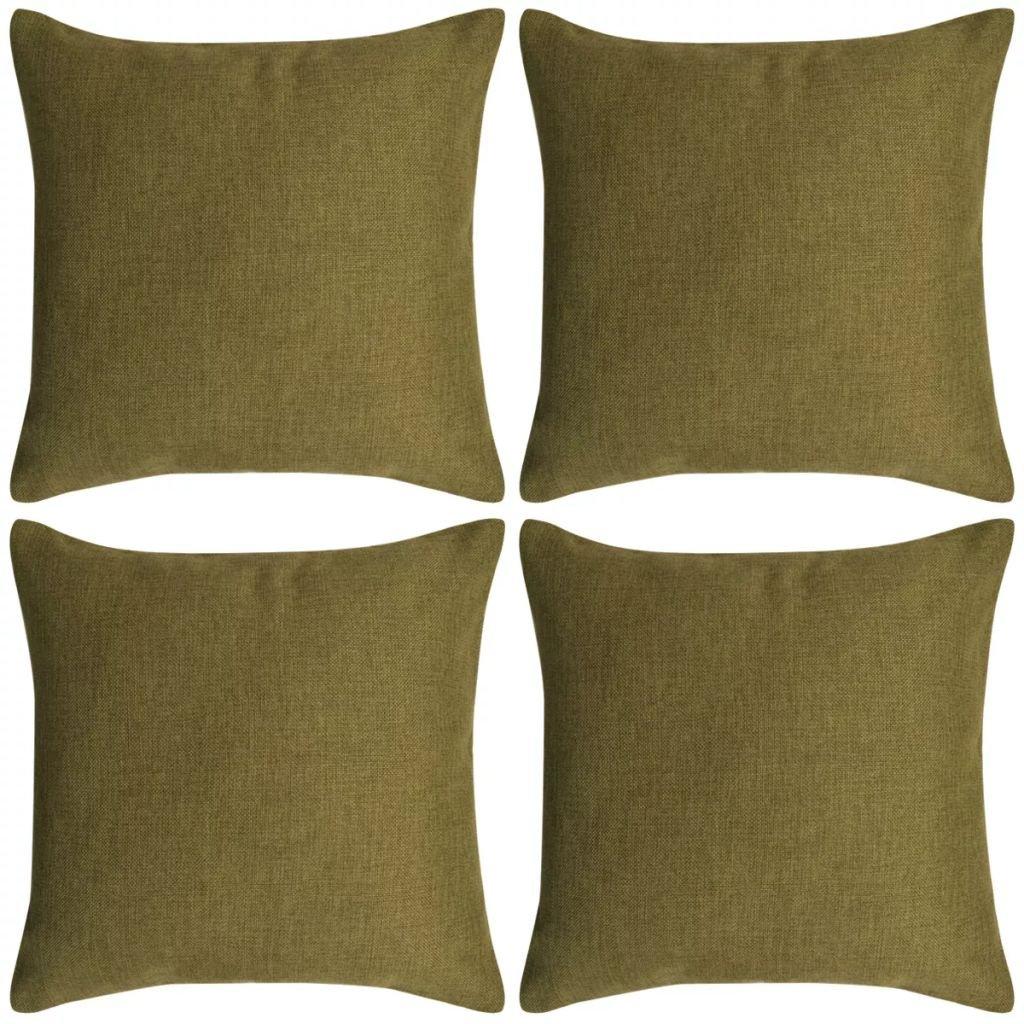 Povlaky na polštářek 4 ks se vzhledem lnu - zelené | 80x80 cm