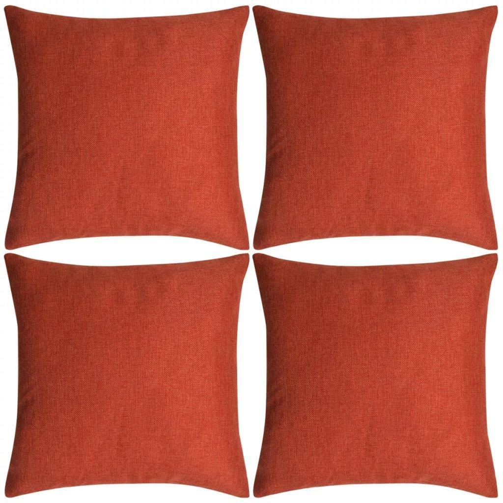 Povlaky na polštářek 4 ks se vzhledem lnu - cihlový   50x50 cm