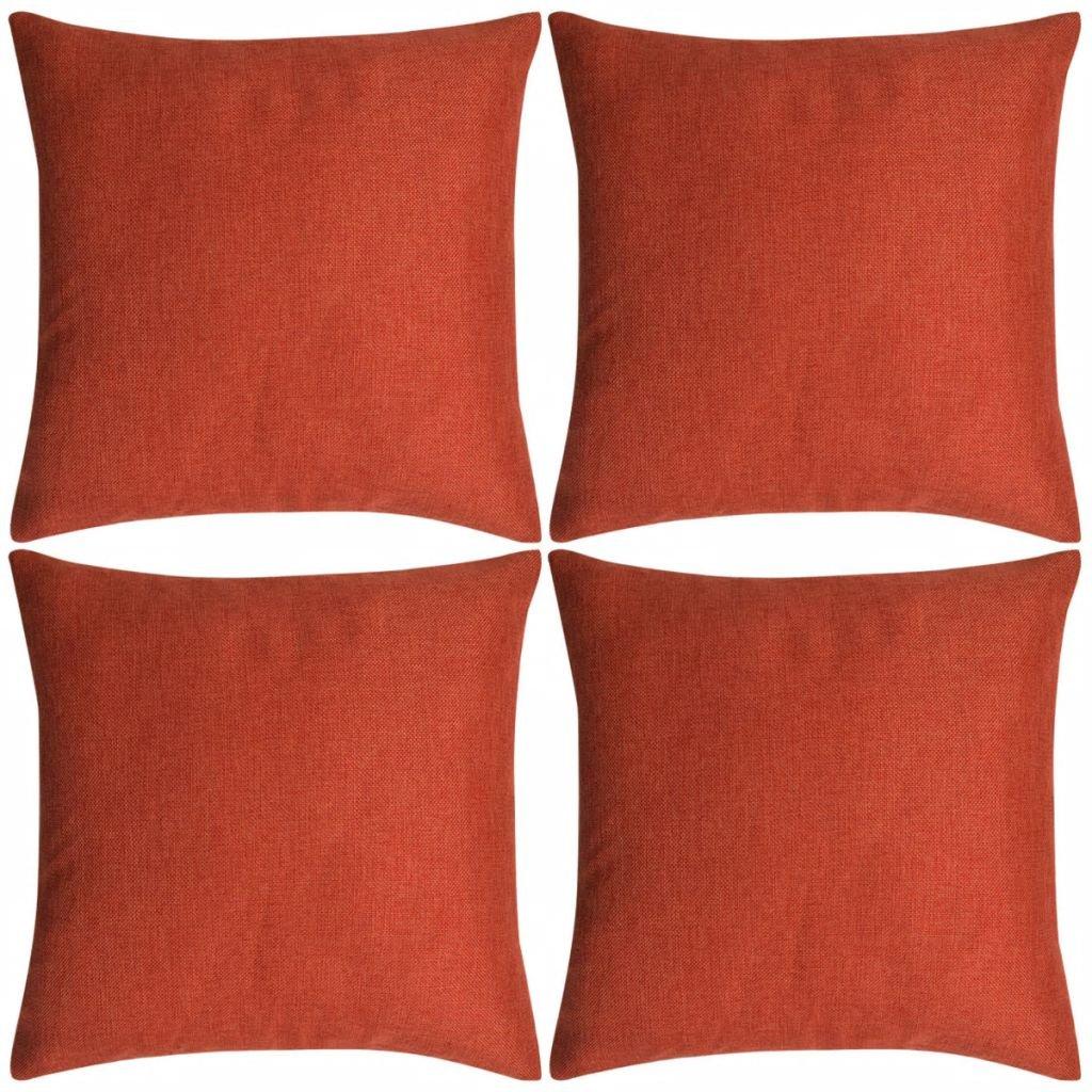 Povlaky na polštářek 4 ks se vzhledem lnu - cihlový | 80x80 cm