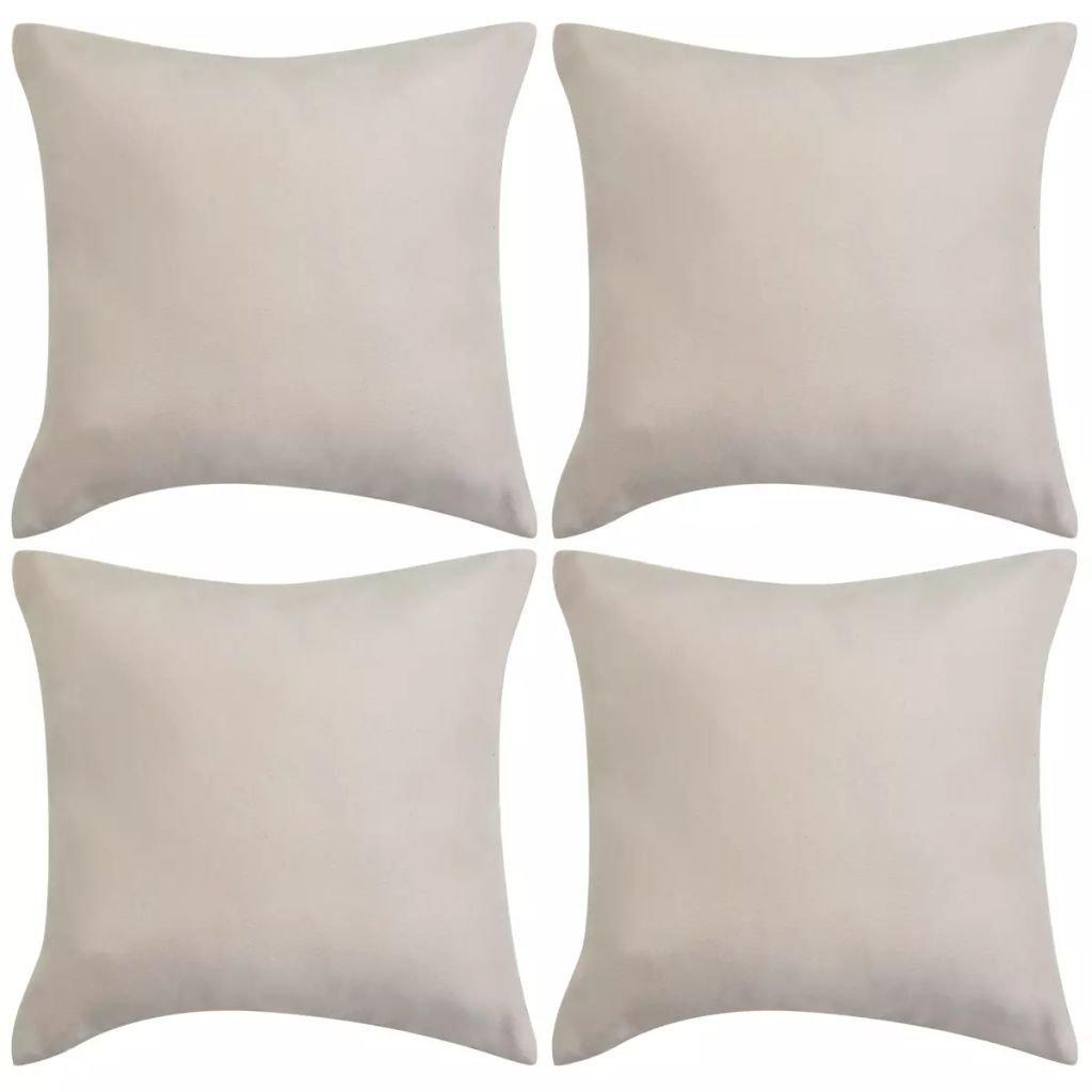 Povlaky na polštář - umělý semiš - 4 ks - 40x40cm | béžová