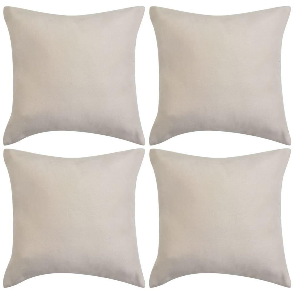 Povlaky na polštář - umělý semiš - 4 ks - 50x50 cm | béžová