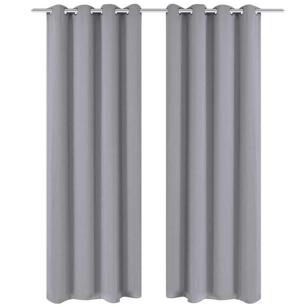 Zatemňovací závěsy s kovovými oky - 2 ks - šedá | 135x175 cm