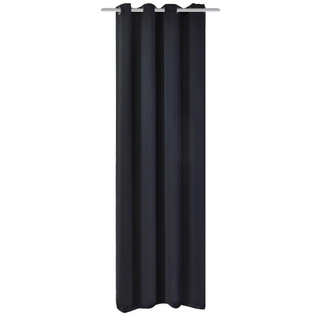 Zatemňovací závěs s kovovými oky - černý | 270x245 cm