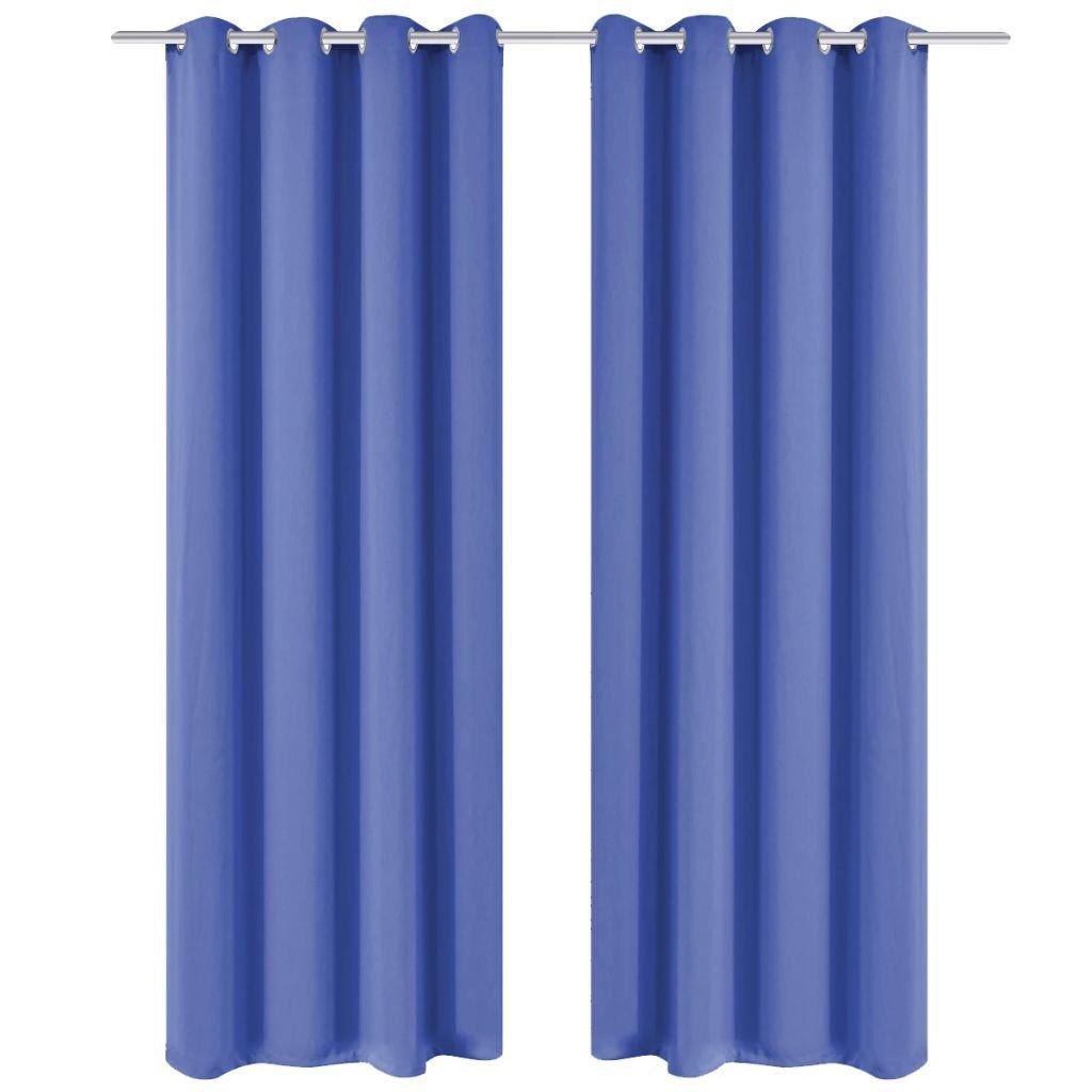 Zatemňovací závěsy s kovovými oky - 2 ks - modrá | 135x175 cm