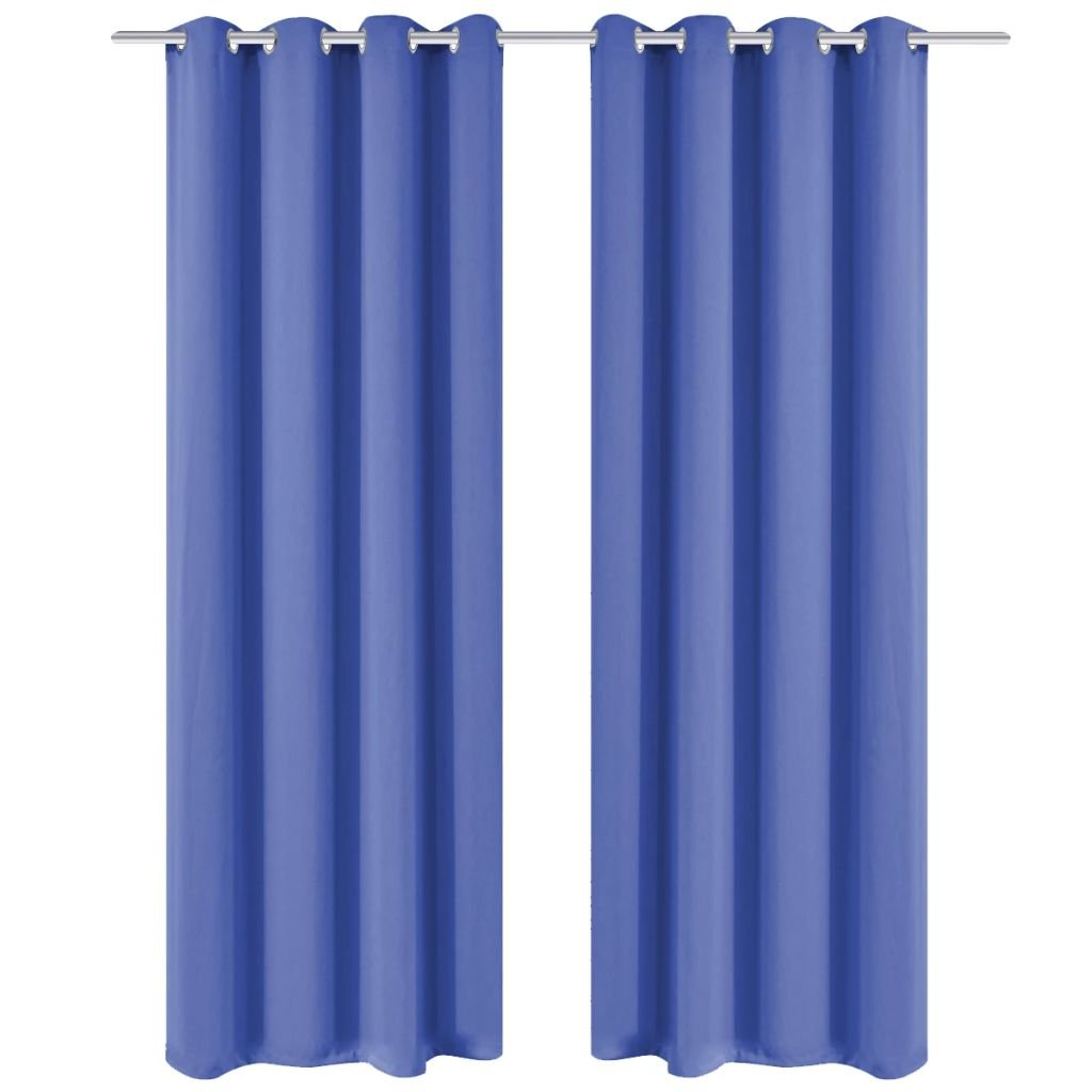 Zatemňovací závěsy s kovovými oky - 2 ks - modrá | 135x245 cm