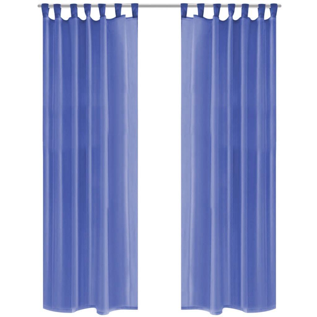 Voálové závěsy - modré - 2 ks | 140x225 cm