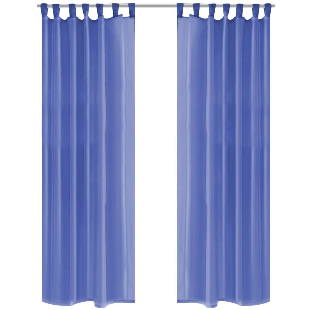 Voálové závěsy - modré - 2 ks   140x225 cm