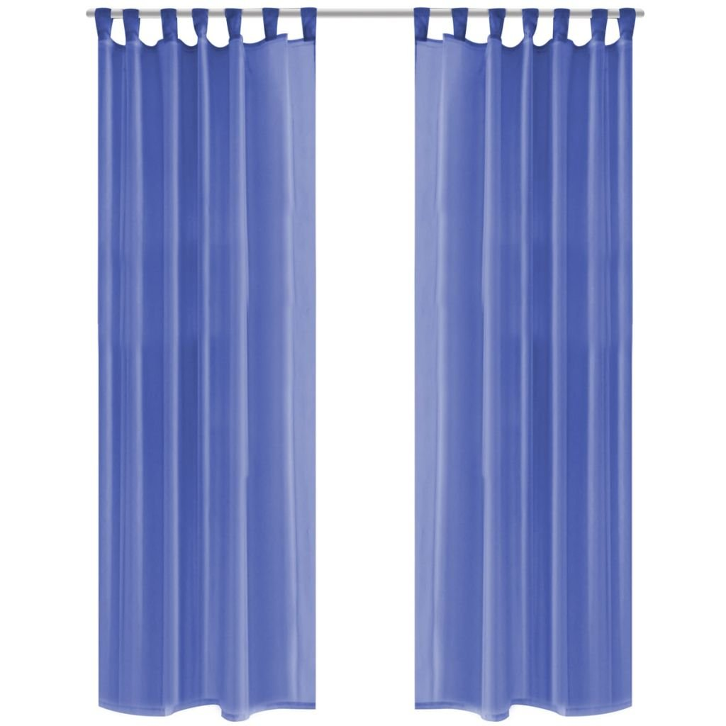Voálové závěsy - modré - 2 ks   140x245 cm
