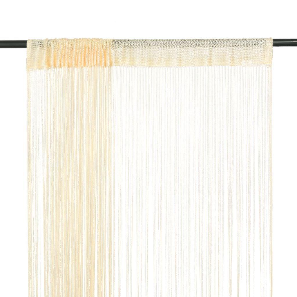 Provázkové záclony - 2 ks - krémová | 100x250 cm