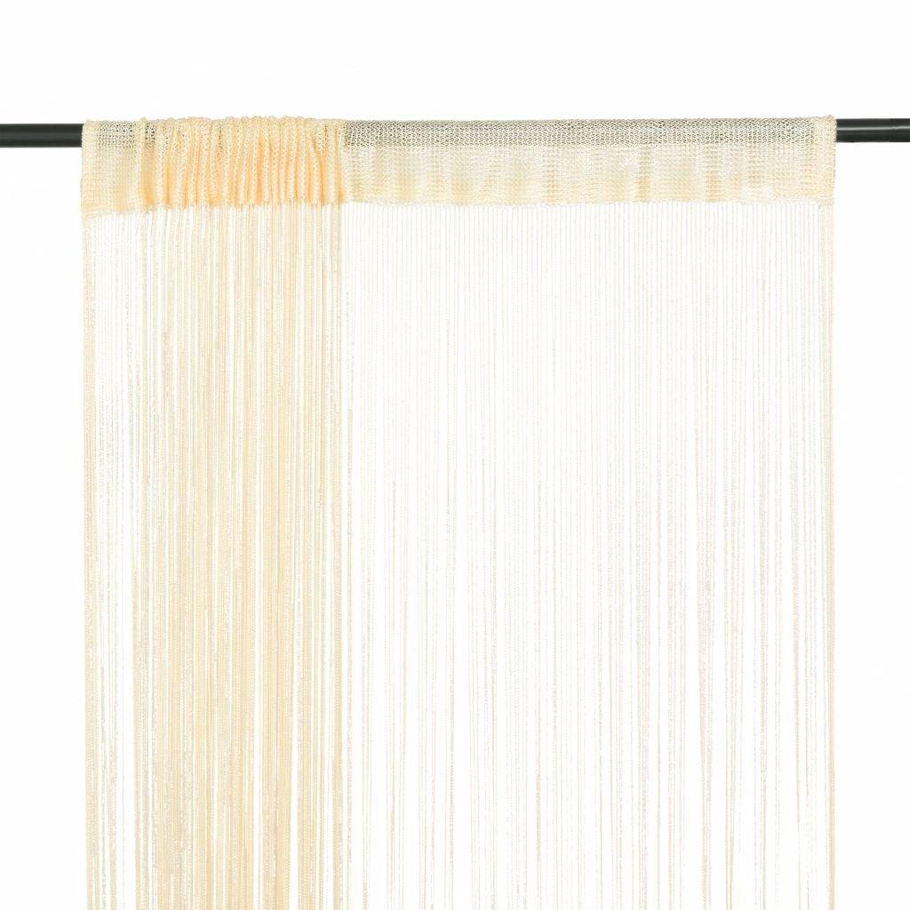 Provázkové záclony - 2 ks - krémová | 140x250 cm