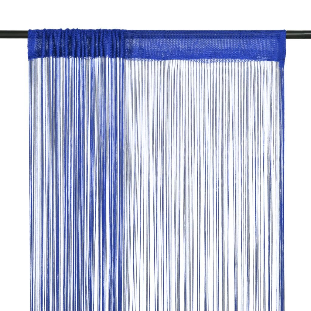 Provázkové záclony - 2 ks - modrá | 140x250 cm