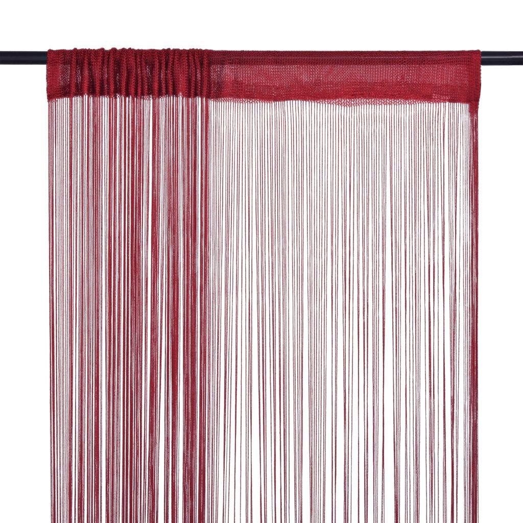 Provázkové záclony - 2 ks - vínová | 100x250 cm