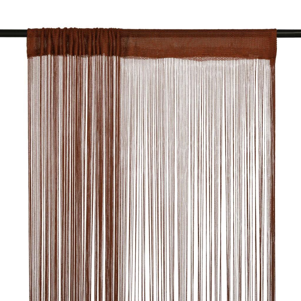 Provázkové záclony - 2 ks - hnědá | 100x250 cm
