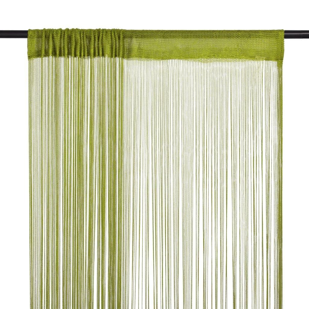Provázkové záclony - 2 ks - zelená | 140x250 cm