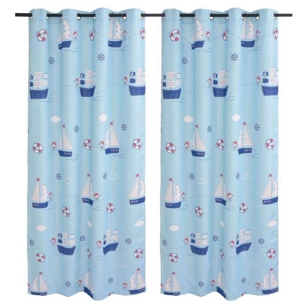 Dětské zatemňovací závěsy s potiskem - 2 ks - modrá   140x240 cm