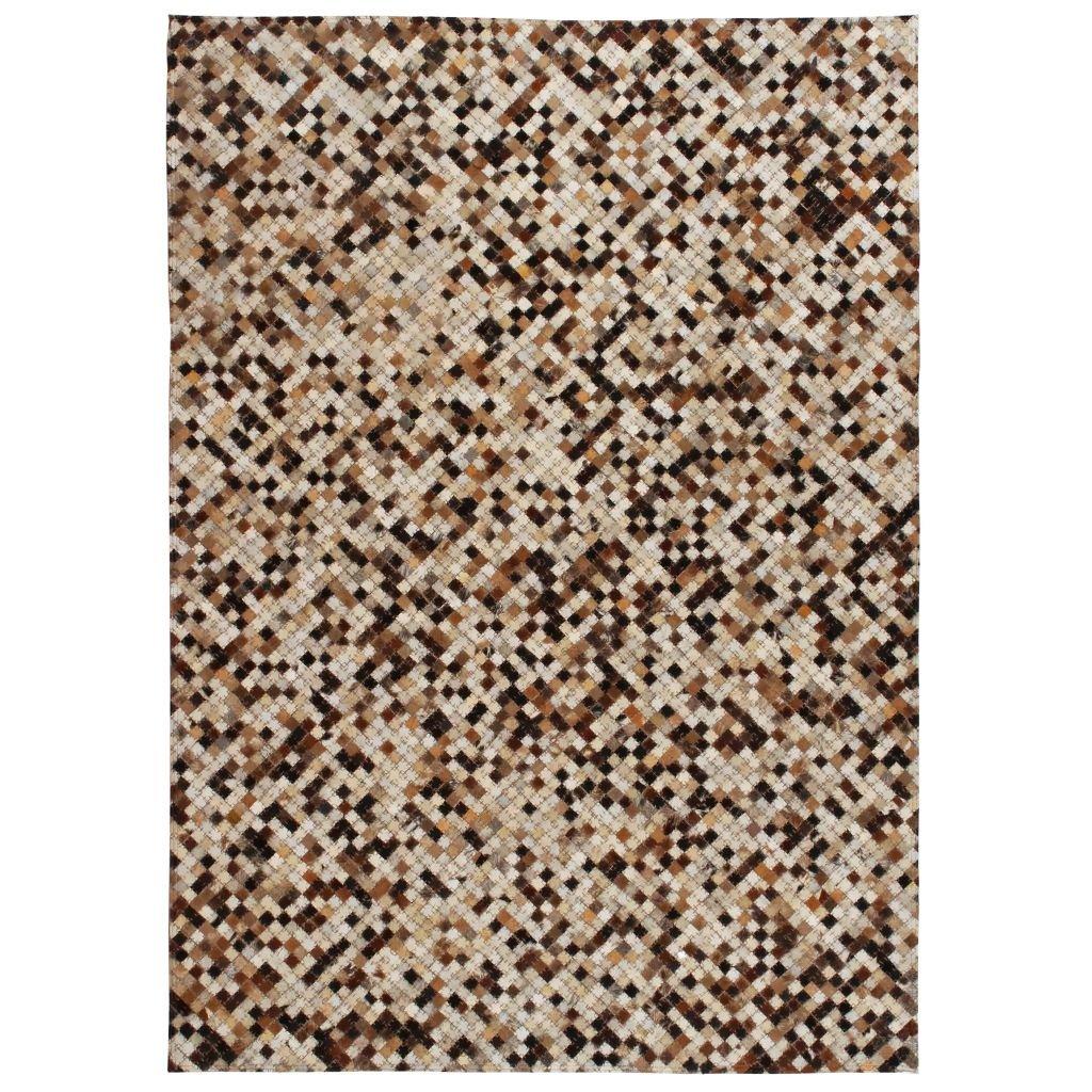 Koberec patchwork pravá kůže - čtverec - hnědobílý | 80x150 cm