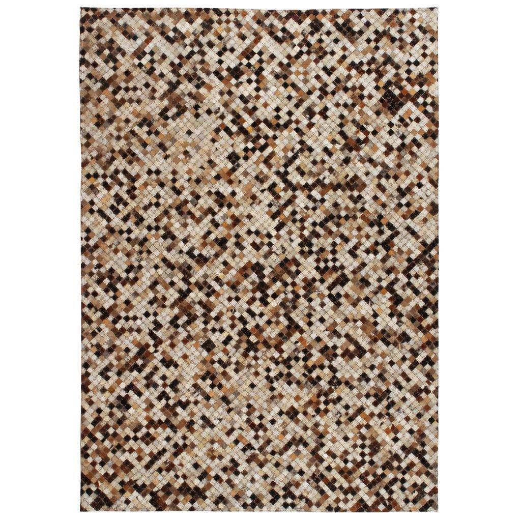 Koberec patchwork pravá kůže - čtverec - hnědobílý | 160x230 cm