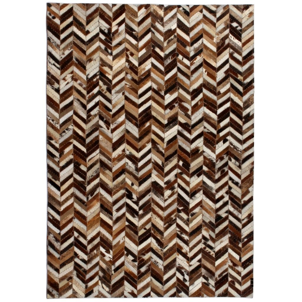 Koberec patchwork pravá kůže - chevron - hnědobílý | 120x170 cm