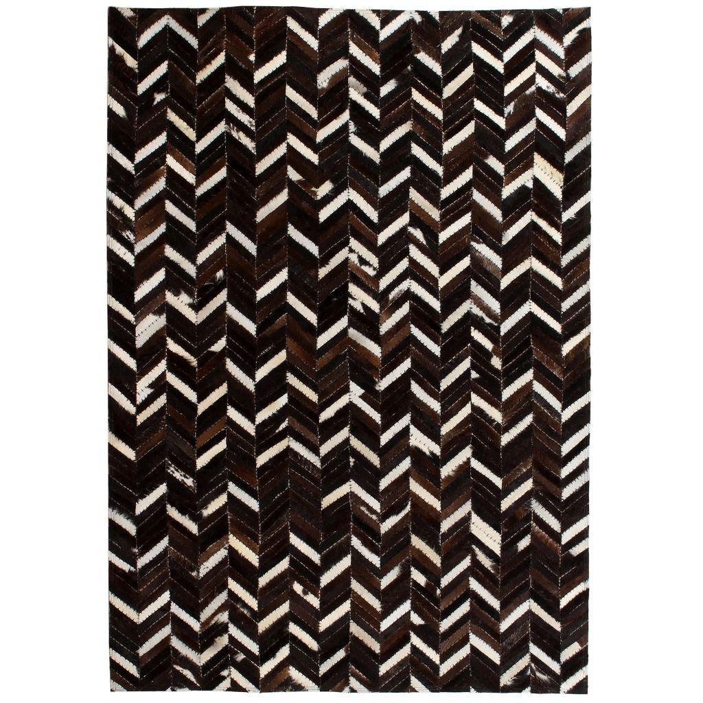 Koberec patchwork pravá kůže - chevron - černobílý   120x170 cm