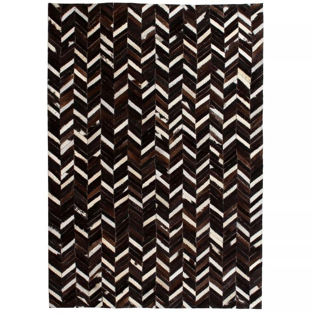 Koberec patchwork pravá kůže - chevron - černobílý | 160x230 cm