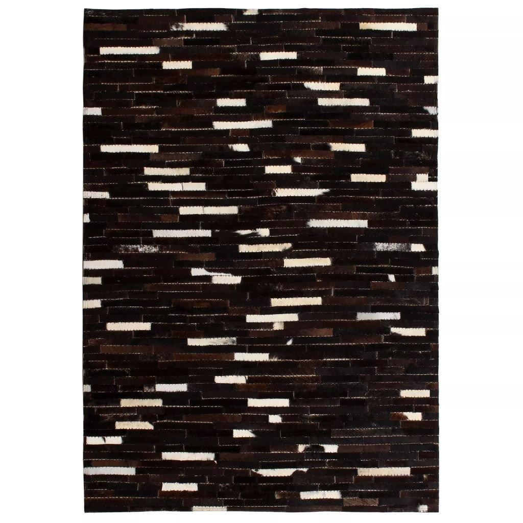 Koberec Quincy - patchwork pravá kůže - pruhy - černobílý | 80x150 cm