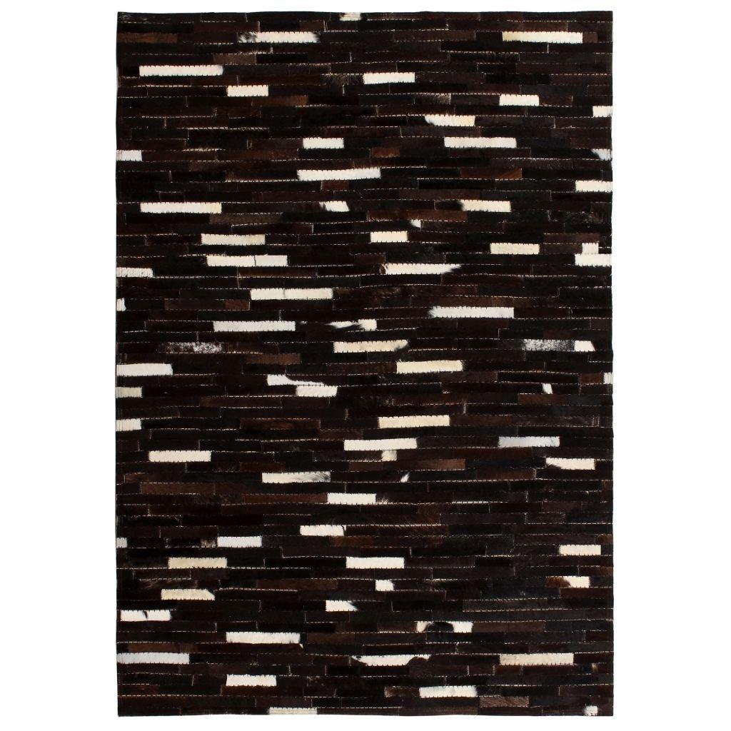 Koberec patchwork pravá kůže - pruhy - černobílý | 160x230 cm