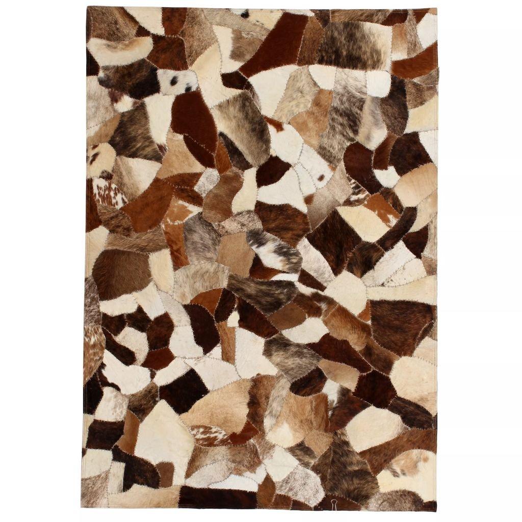 Koberec patchwork - pravá kůže - hnědobílý | 80x150 cm