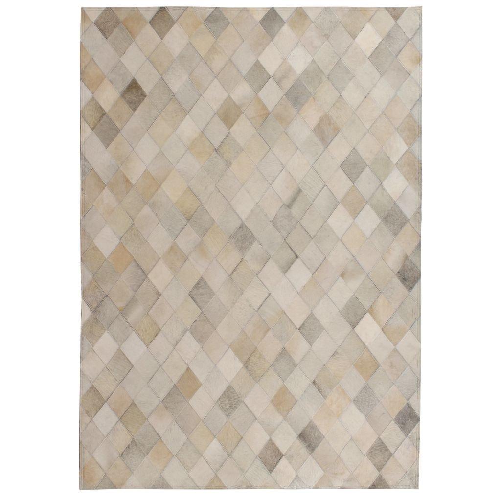 Koberec Woburn - patchwork - pravá kůže - šedý | 160x230 cm