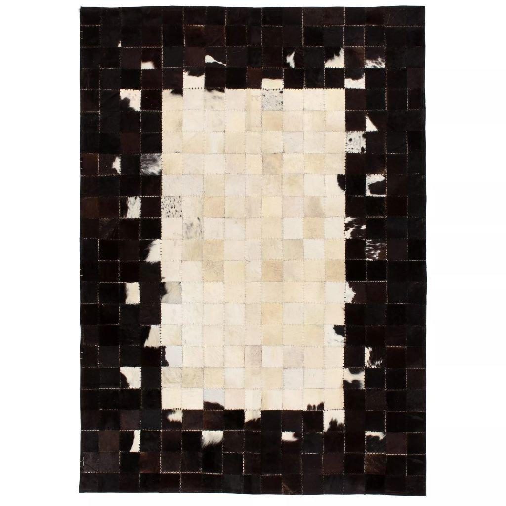 Koberec Nahant - patchwork pravá kůže - čtverce - černobílý | 80x150 cm