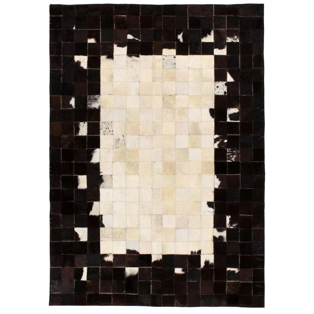 Koberec Nahant - patchwork - pravá kůže - černobílý | 120x170cm