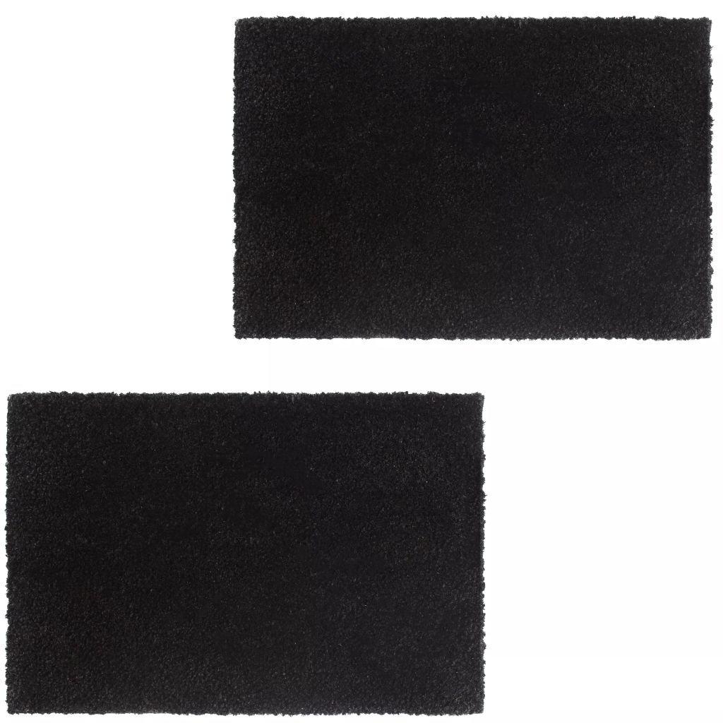 Rohožky z kokosových vláken - 2 ks - černé   17 mm - 40x60 cm