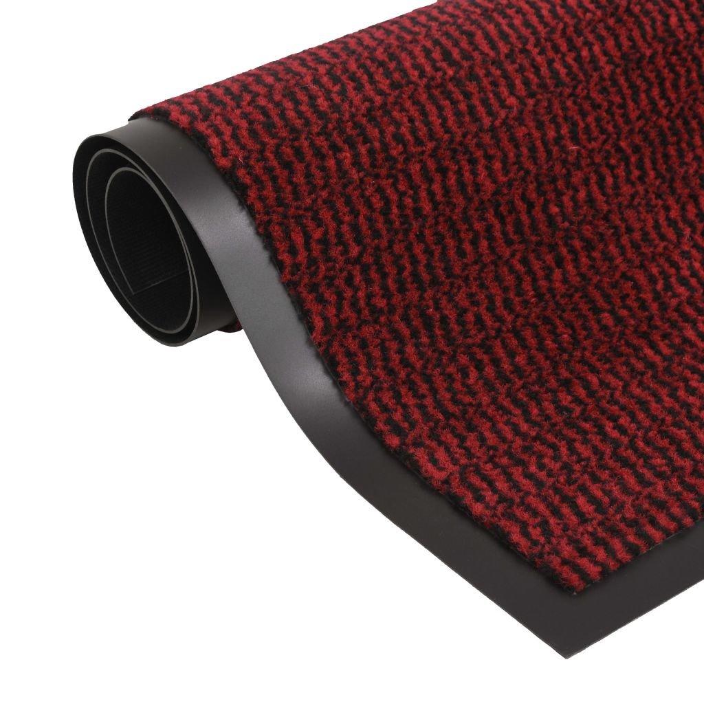 Protiprachová obdélníková rohožka všívaná - červená   40x60 cm