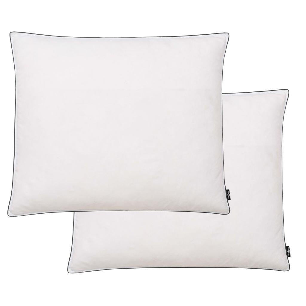 Polštáře 2 ks výplň z prachového peří/peří - lehké - bílé | 70x60 cm