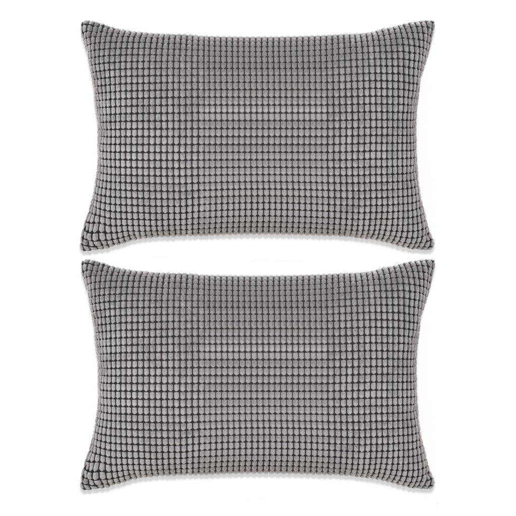 Sada polštářů - 2 ks - velur - šedé | 40x60 cm