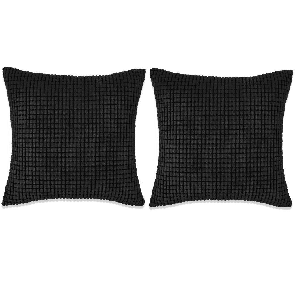 Sada polštářů - 2 ks - velur - černé | 45x45 cm